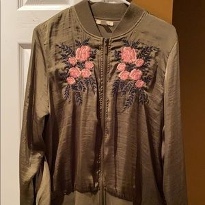 Olive green floral jacket. Wore once. Size medium